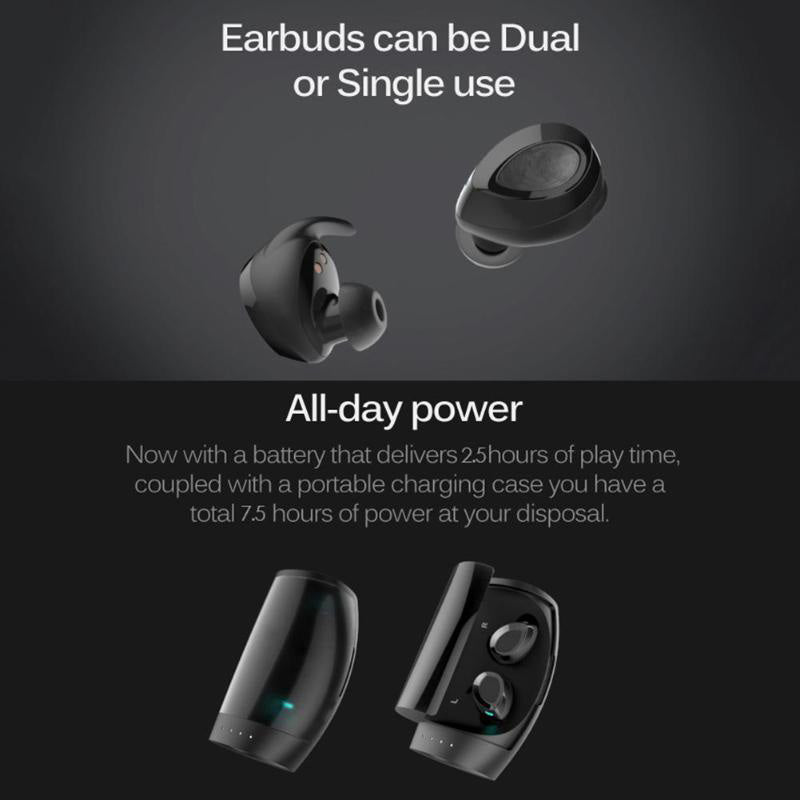 True Wireless Stereo ES60 Earbuds, Bluetooth V4.2 In-Ear Headset, Noise Cancelling Earphone with Charging Case, Ergonomic Design Invisible Headphone with Mic for Running Gym Workout for iPhone Samsung