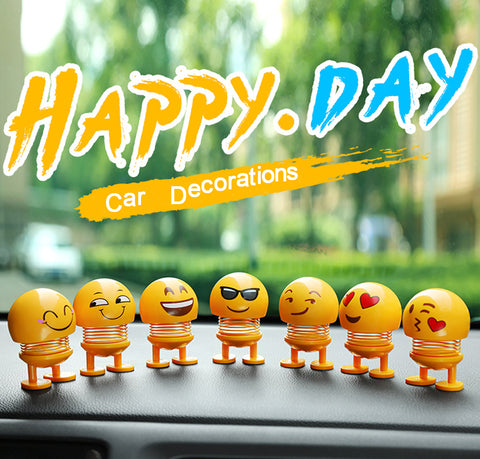 8 Pcs Cute Emoji Bobble Head Dolls for Car Dashboard Ornaments, Party Favors, Gifts, Home Decorations