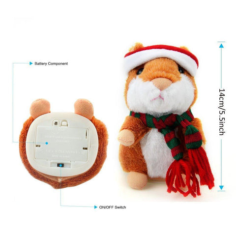 Image of Electronic Talking Hamster with Christmas Hat & Scarf