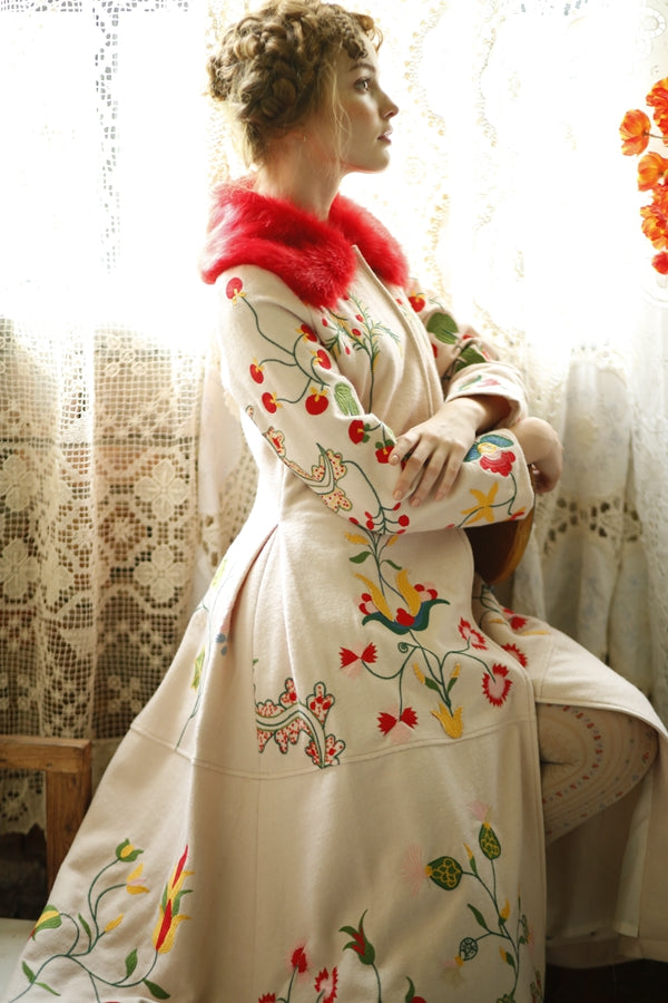 """Winter's Bloom"" Original Design Women High Quality Wool Blend Embroidery Flowers Vintage Design"