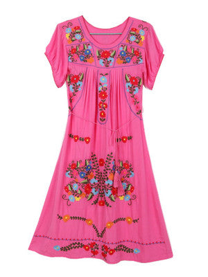 Mexican Floral Bohemian Loose Dress