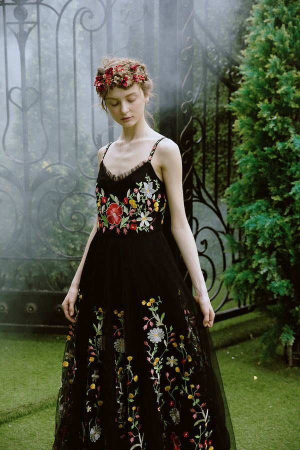 Black Swan Floral Long Dress