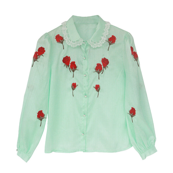 Lily's Water Green Collar Shirt