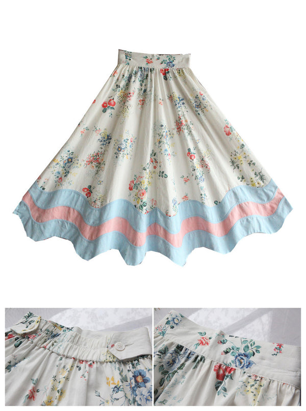 Lily's Rustic Flower Powder blue Cotton skirt