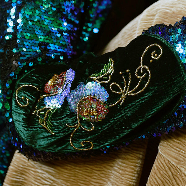Peacock Cover Up  Sequins Jacket