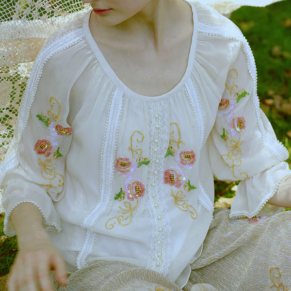 Millie's Embroidered Patchwork Beige Top