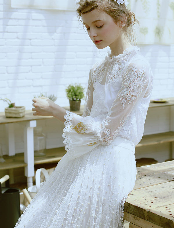Handmade beading pink three-dimensional flower lace top