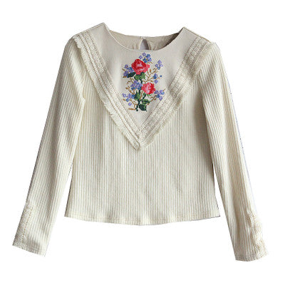 Lolita Cross Stitch Floral Basic Thin Wool Sweater