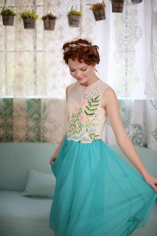 Ballerina Teal Peacock Dress
