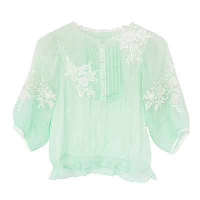 Green Water Lily Lace Top