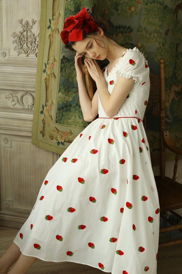 Strawberry Vintage Embroidery Dresses
