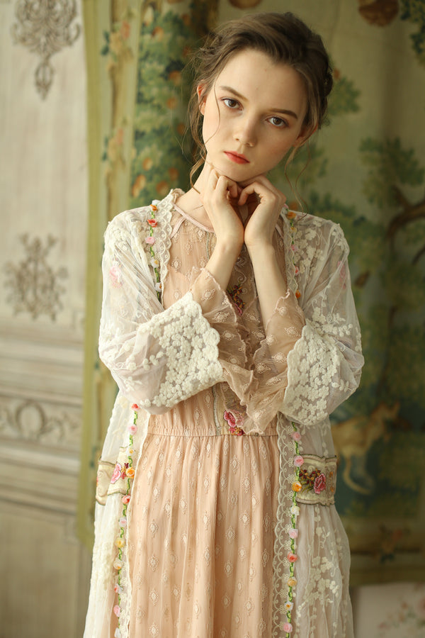 Azalea's Vintage Embroidery Long Cardigan