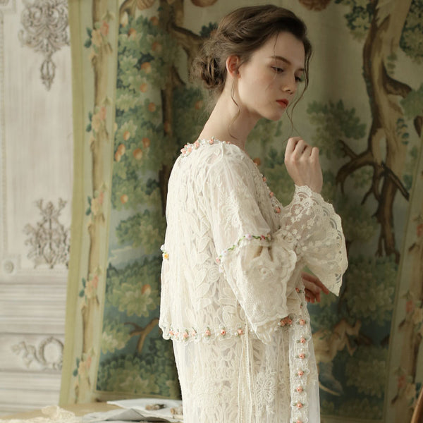 Orchid Butterfly Long Lace Cardigan