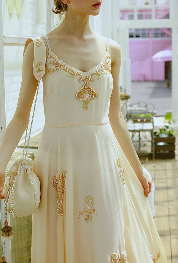 Orchid's Handmade Beading Floral Spaghetti Strap Dress