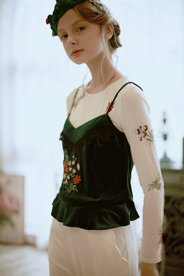Lolita's Velvet Forest Green Embroidery Velour Camis