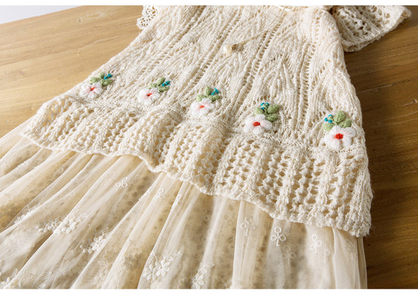Spring Autumn Women Victoria Vintage Embroidery Lace Mori Girls Sweater Dresses