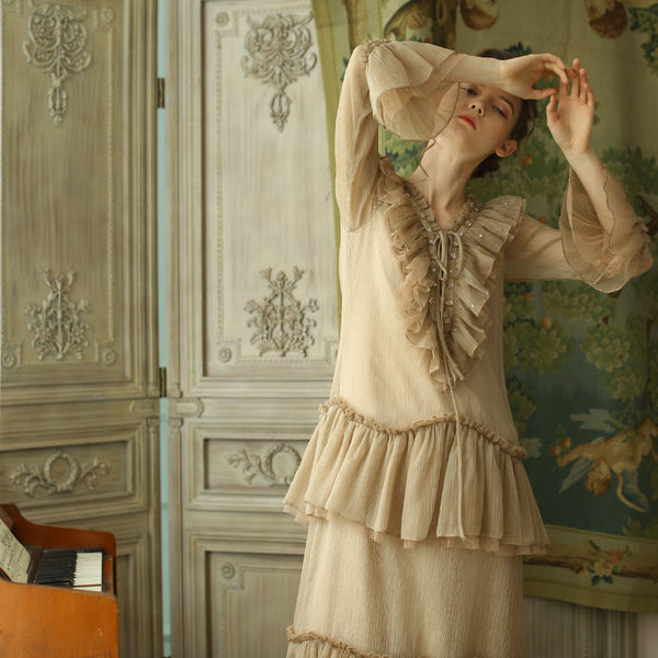 Cello Beige Ruffled Dress