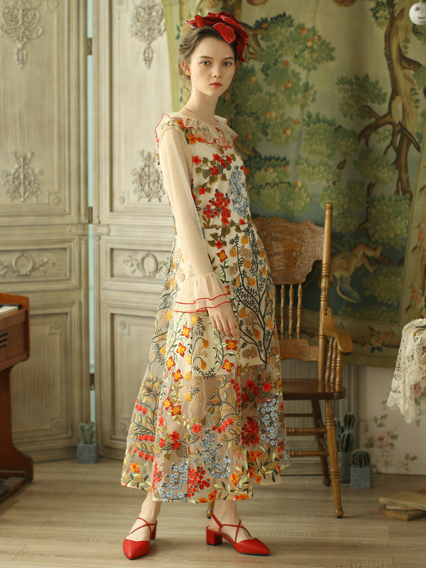 Secret Garden Long Sheer Embroidery Dress