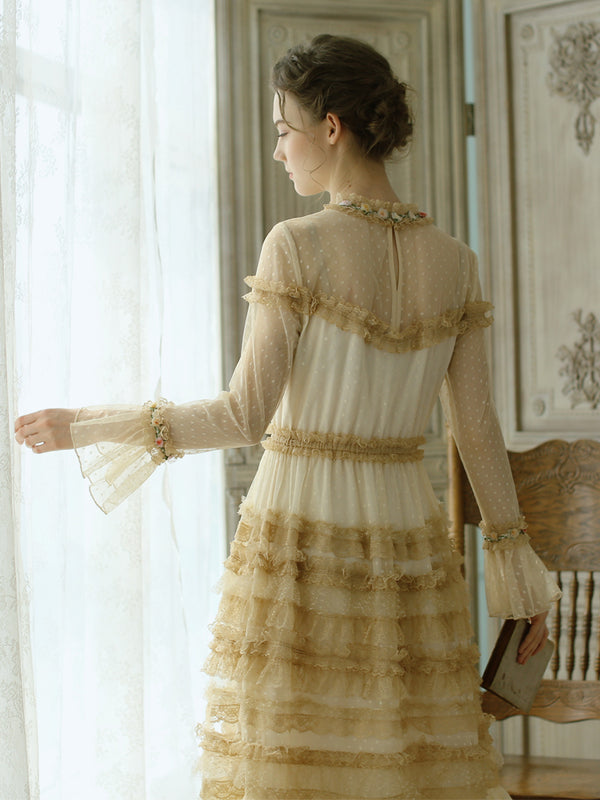 Cello's Royal Vintage Lace Layered Dress