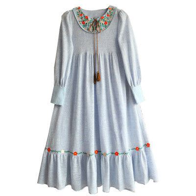 Millie's Water Blue Embroidery Lantern Sleeve Knitted Dress