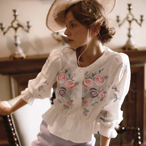 Rose Embroidered White Shirt