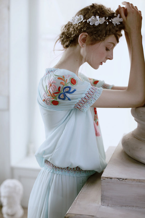 Lolita's Embroidery Tassel Blue Water Top