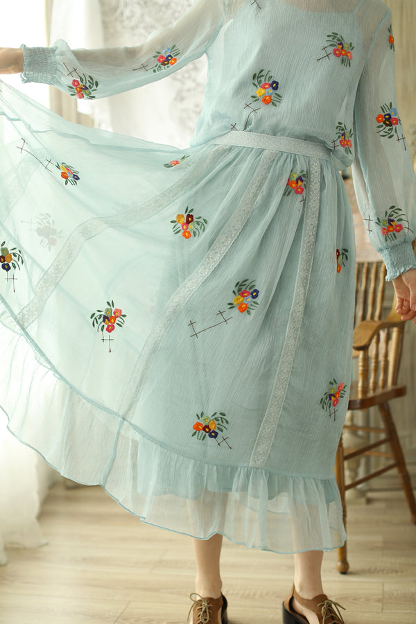 Lolita's Dancer Blue In Orange Embroidery Patchwork Skirt