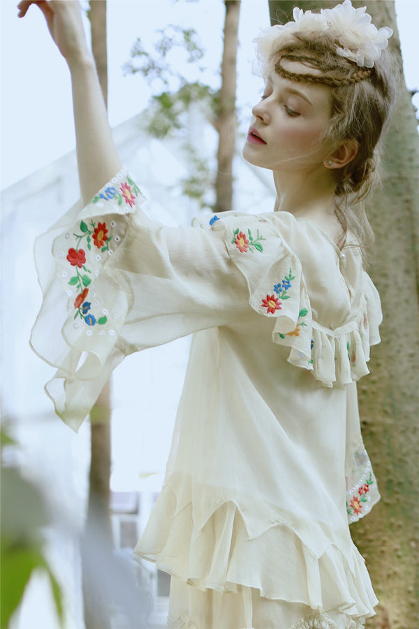 Paula's Floral Embroidery Patchwork Top