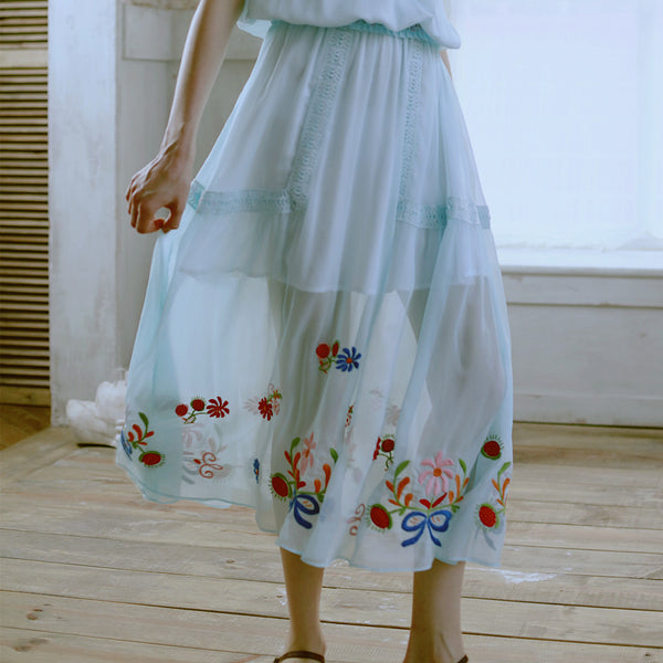 Blue Water Lily Skirt