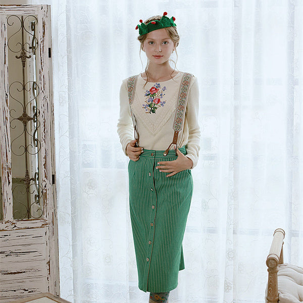 Spring Vintage Bohemian cotton skirt