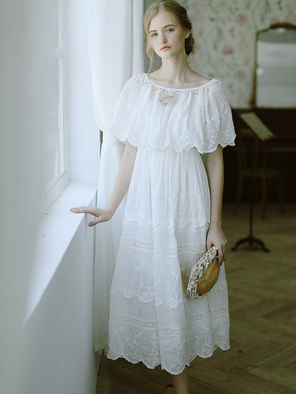 Very Victoria's Embroidered  White Cotton Dress