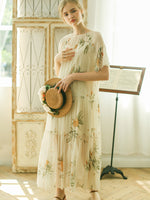 Daisy's Floral Print Silk Long Dresses