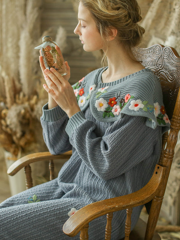 Spring Winter Original Design Women Royal Vintage Mori Girls Embroidery Knitted Woolen Pullover Dresses