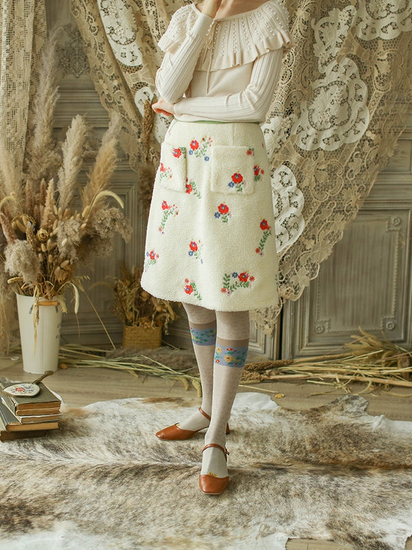 Spring Winter Women Vintage Exquisite Embroidery Mori Girls Faux Lamb Fur Thick Skirts