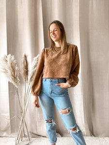 Cropped Sweater Camel