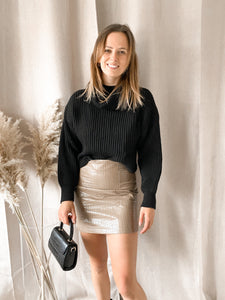 Leather Skirt Beige