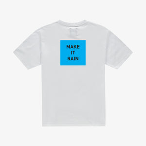 Make it rain t-shirt white blue