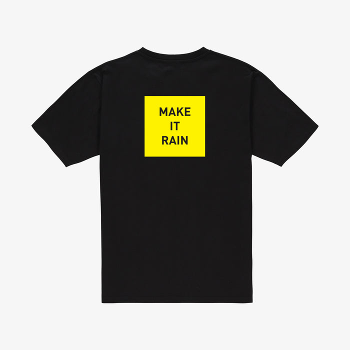 Make it rain t-shirt black yellow