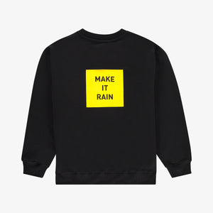 Make it rain sweater black yellow unisex