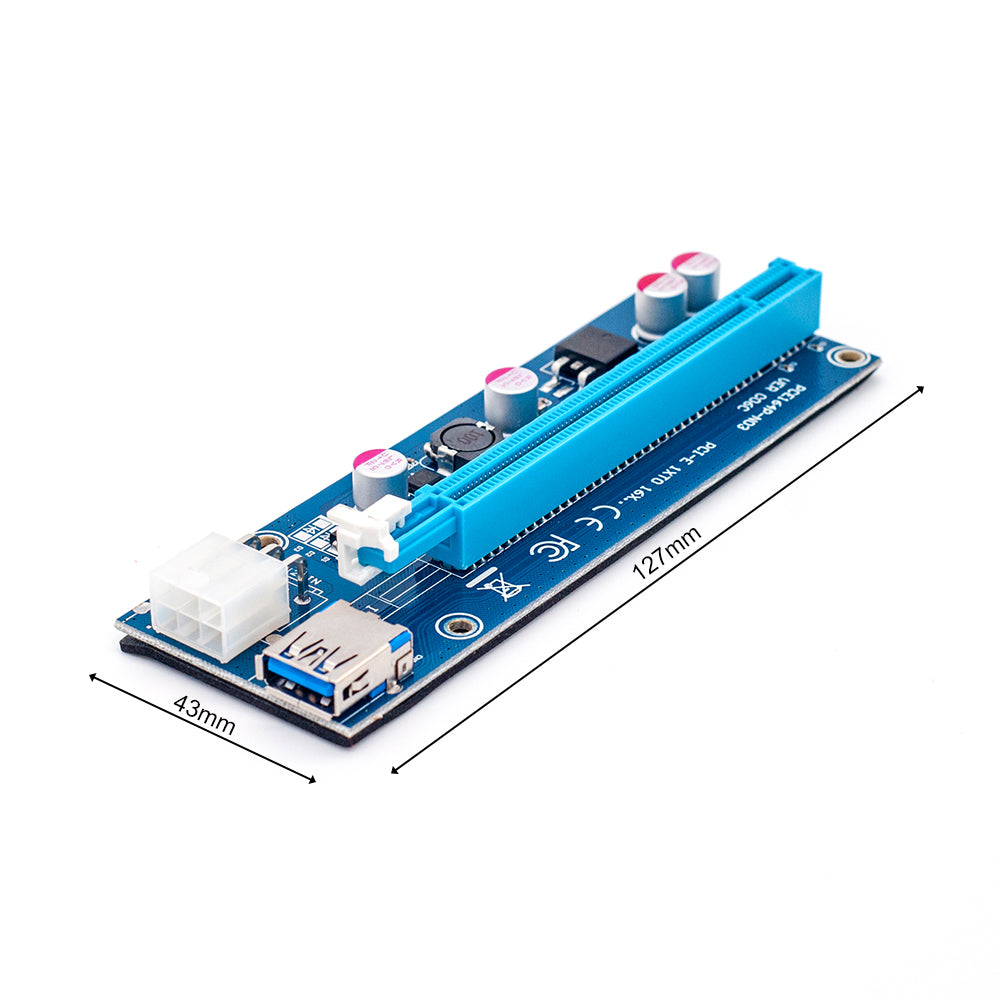 6Pcs 006C PCIe PCI-E PCI Express Riser Card 1x to 16x USB 3.0 Data Cable Adapter SATA to 4Pin IDE Molex 6 pin for Bitcoin Mining