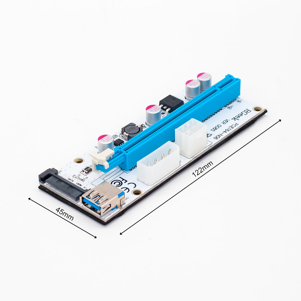 NEW USB3.0 008S PCI-E Riser Express 1X 4x 8x 16x Extender Riser Adapter Card SATA 15pin to 6pin Power Cable Dual Power Interface