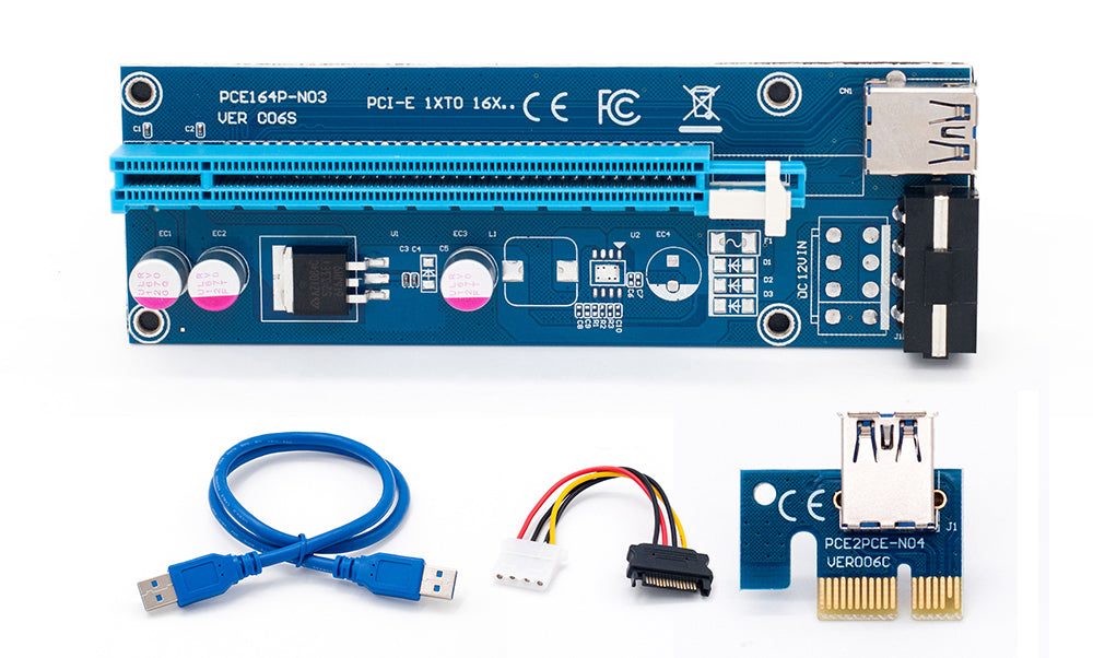 Wholesale USB 3.0 PCI-E Riser Express 1X 4x 8x 16x Extender Riser Adapter Card SATA 15pin Male to 6pin Power Cable