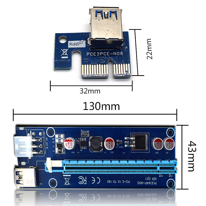 WEYES Pci-e Extender Pci Express Riser Card 1x To 16x 60cm Usb 3.0 Cable Sata To 4pin 6pin Molex Power For Btc Miner Machine