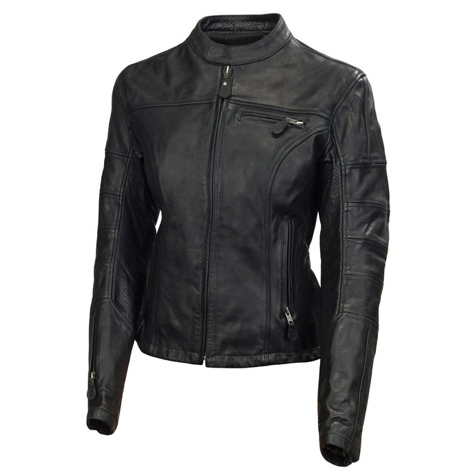Jemison Leather Black Genuine Women Biker Jacket