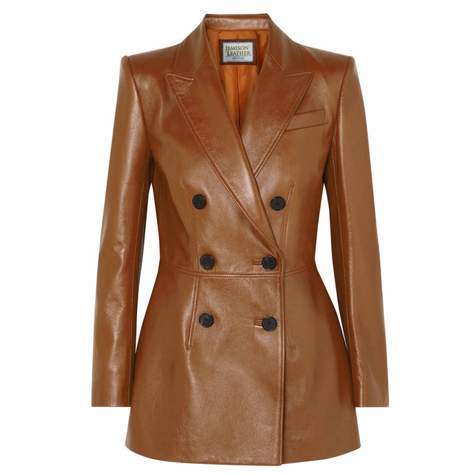 Jemison Leather Brown Women's Long Coat Jacket