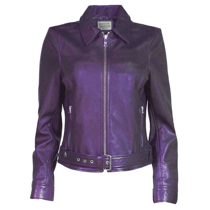 Jemison Leather Moto Style Women's Violet Jacket