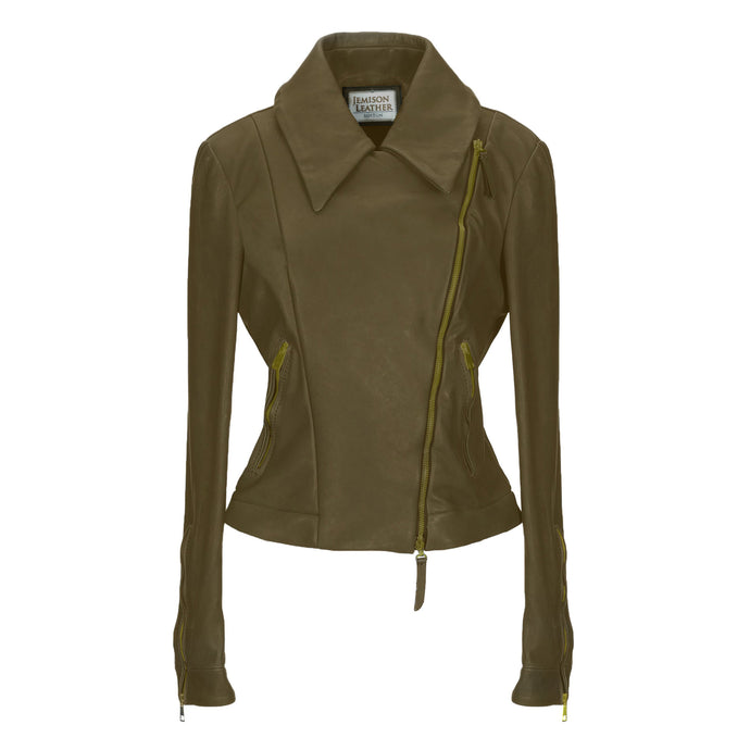Jemison Leather Brown Biker Women's Suede Jacket