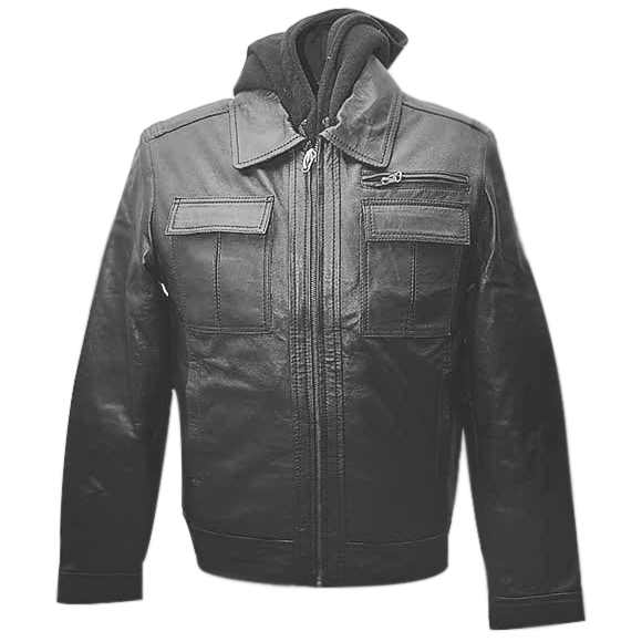 Jemison Leather Jumble Style Hooded Jacket