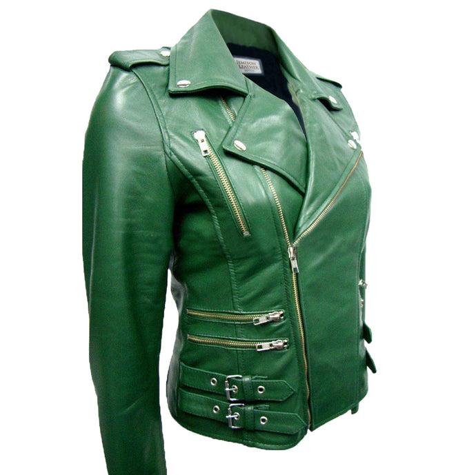 Jemison Leather Buckle Style Women's Cross Jacket