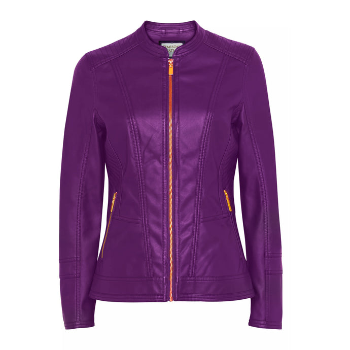 Jemison Leather Biker Style Purple Women's Jacket